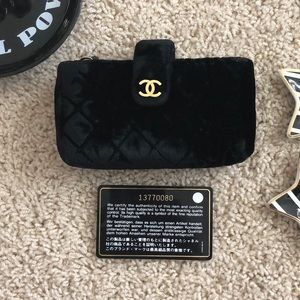 Auth CHANEL Velvet Wallet Clutch Tiny Purse
